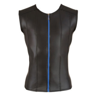 Shirt Met Lederlook En Lange Rits - Zwart
