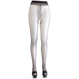 Prachtige zwarte panty van hoge kwaliteit. Deze panty heeft een licht satijnen glans voor verleidelijke gladde benen. Het open kruisje van de panty is versterkt en geeft een uitdagende blik op je kruis. De voeten van de panty zijn voorgevormd voor extra stevigheid. De panty voelt spannend tijdens het dragen en zit erg comfortabel.